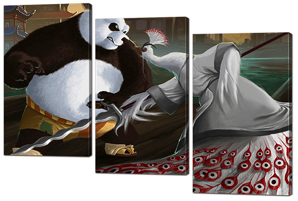 Модульная картина Interno Холст Панда Кунг-Фу 124x82см (R857L)
