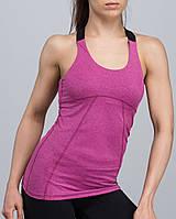 Майка жіноча спортивна еластична рожевий меланж