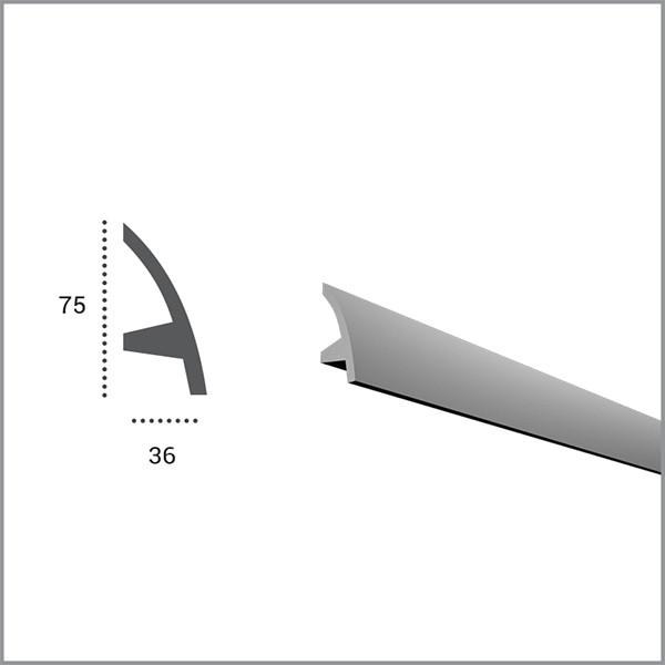 Карниз гибкий Tesori KF502 (75x36)мм