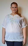 Блузка женская белая с цветной вышивкой и люриксом, хлопок, 54-56 р-ры