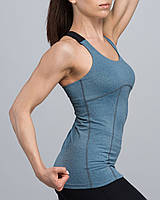 Майка жіноча спортивна еластична блакитний-меланж