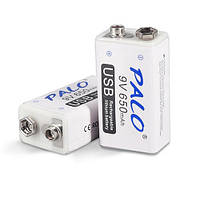 "Аккумуляторная батарея 9 вольт типа ""Крона"" li-ion 650 мАч с USB портом для зарядки PALO-650"