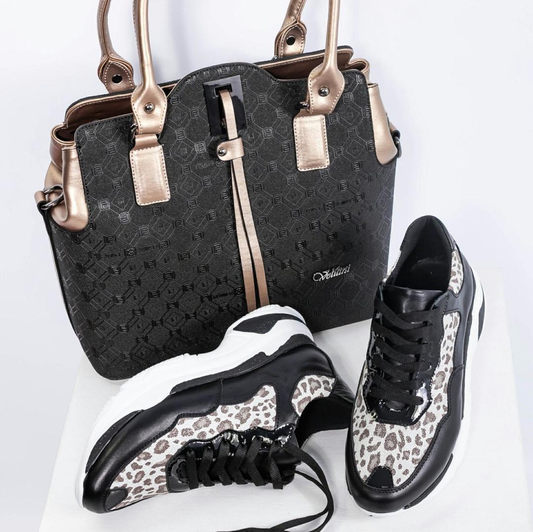 Женские кожаные кроссовки в леопардовом принте