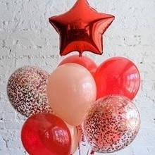 Букетик з кульок в червоних тонах