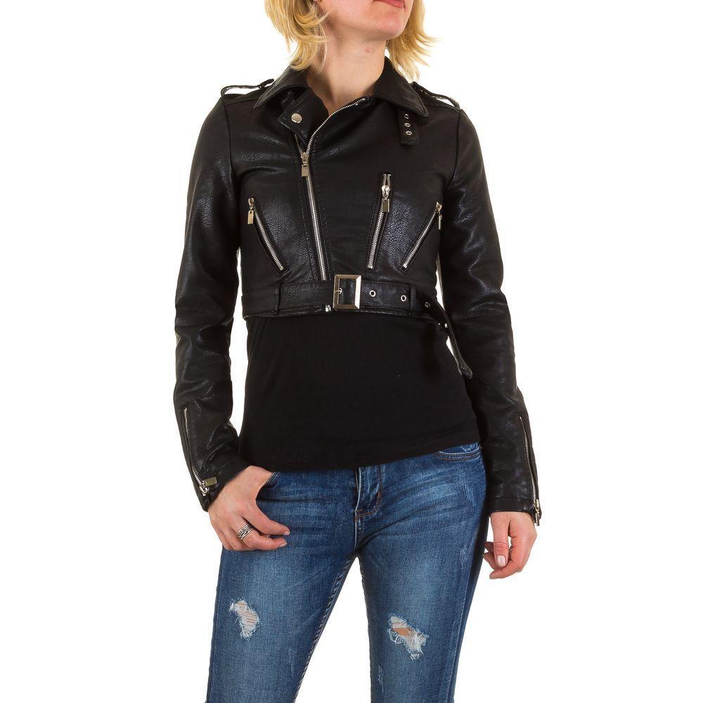 Куртка байкерская короткая женская с поясом (Европа), цвет Черный