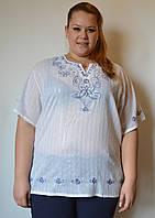 Блузка женская белая с синей вышивкой и люриксом, хлопок, 54-56 р-ры