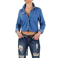 Джинсовая рубашка с завязками на спине и вышивкой Place Du Jour (Франция) Голубой