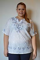 Блузка женская белая с синей вышивкой, хлопок, 54-56 р-ры
