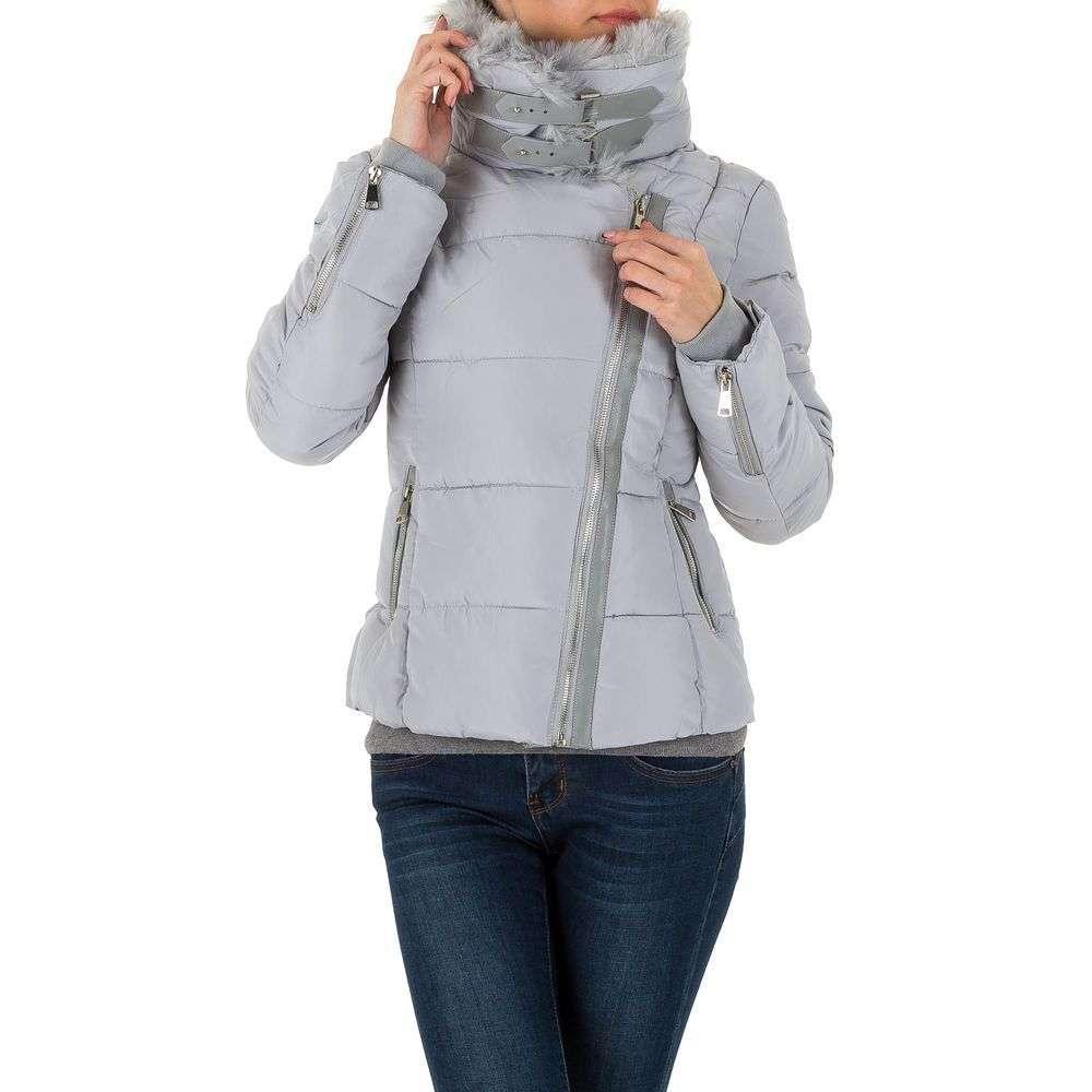 Куртка пуховик женская в байкерском стиле (Европа), Серый