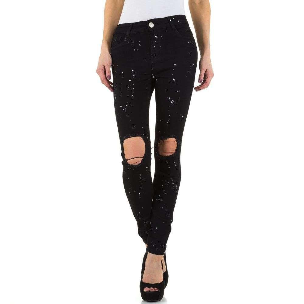 318575ad03d7 Женские джинсы с кляксами и рваными коленями R.Jonaco (Англия), Черный  купить оптом в ...