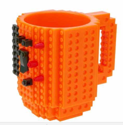 Чашка/Кружка конструктор  Lego брендовая Оранжевая 400 мл