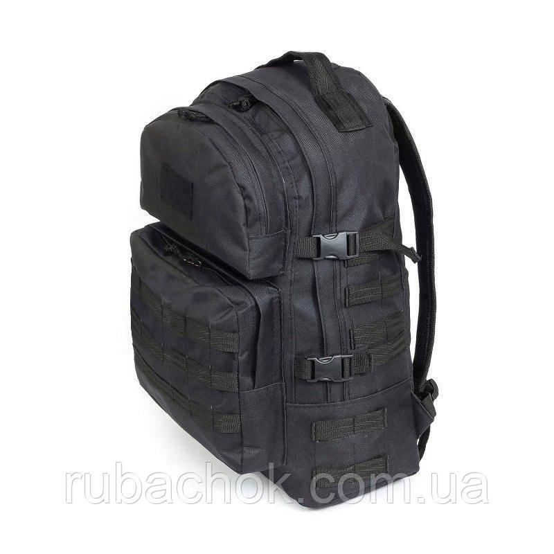 Тактический походный крепкий рюкзак 40 литров черный. Нейлон 600 Den.