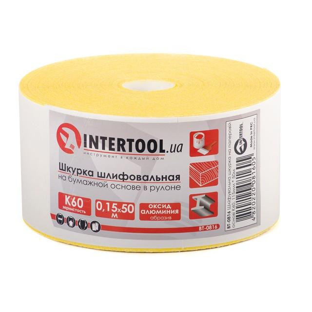 Шлифовальная шкурка на бумажной основе К60, 115мм*50м. INTERTOOL BT-0816