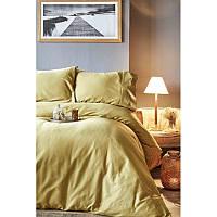 Комплект постельного белья сатин Karaca Home евро размер Infinity hardal (простынь на резинке)