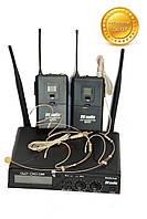 Беспроводной головной микрофон. Радиосистема DV audio BGX-24 Dual сдвоенная.