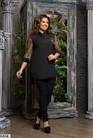 Костюм черный брючный женский демисезонный стрейч джинс-софт батальный 48-62 размеров