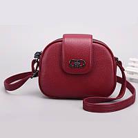 Маленька жіноча шкіряна сумка червона напівкруглої форми опт