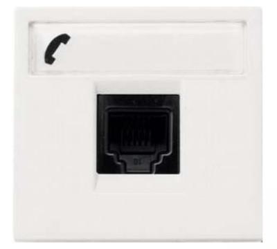 Розетка телефонная RJ12,  белый цвет, Zenit ABB NIESSEN N2217.6 BL, 2 модуля