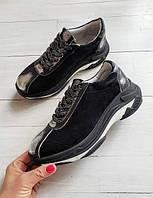 Черные женские кроссовки кеды на стильной подошве хорошего качества от производителя