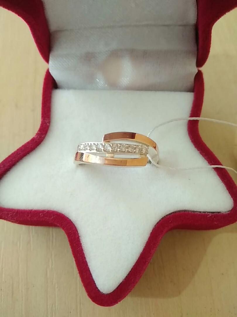 Кольцо серебряное 925 пробы с золотыми пластинами 375 пробы