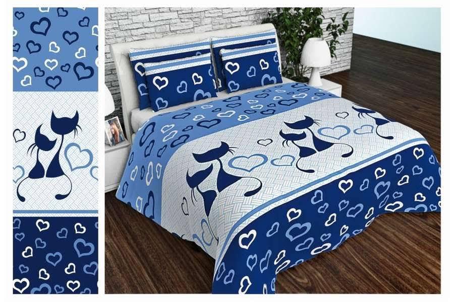 Двоспальний постільний комплект - Коти сині