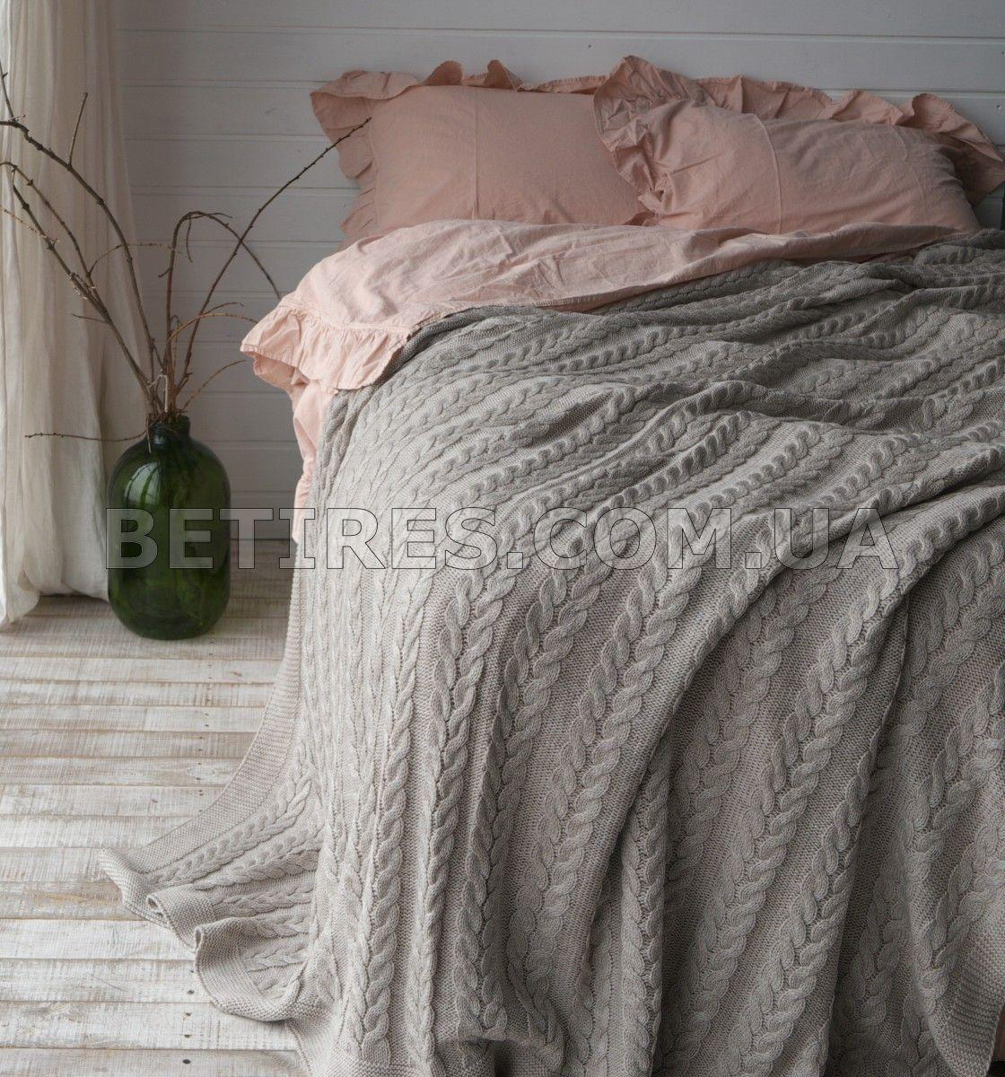 Покрывало вязаное 170x240 BETIRES BREMEN BEIGE бежевое