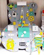 Бизиборд Мишка зелёно-жёлтый