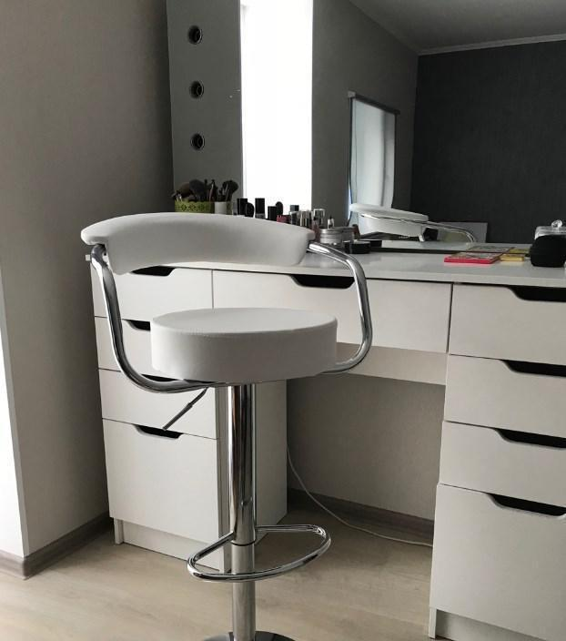 Барный стул Марсель белый кожзам от SDM Group, стул визажиста