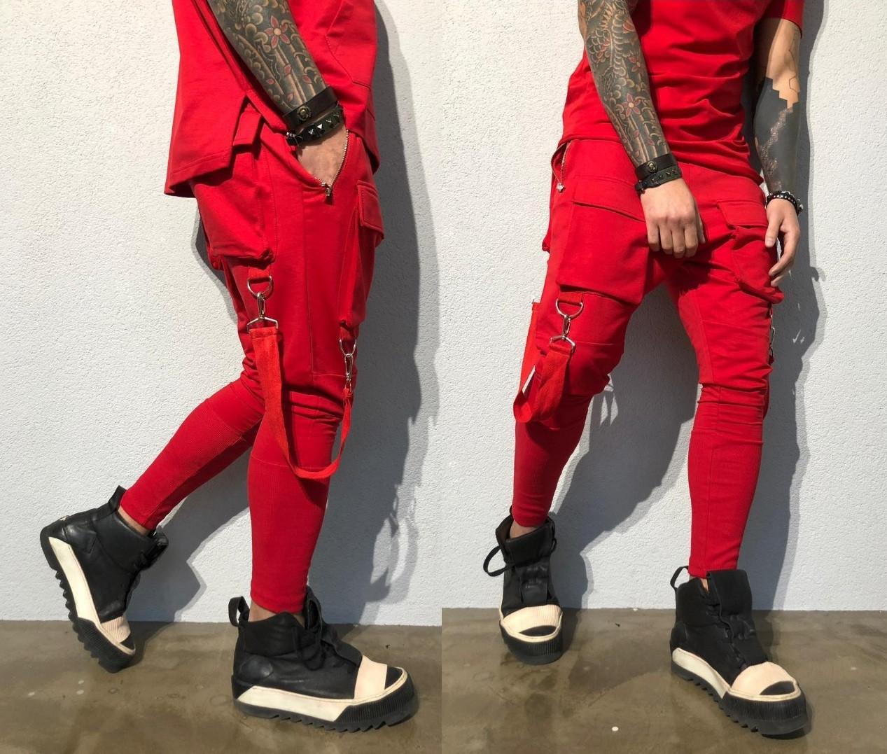 51690f62 Модные мужские спортивные штаны с карманами. Красные, 3 цвета ...