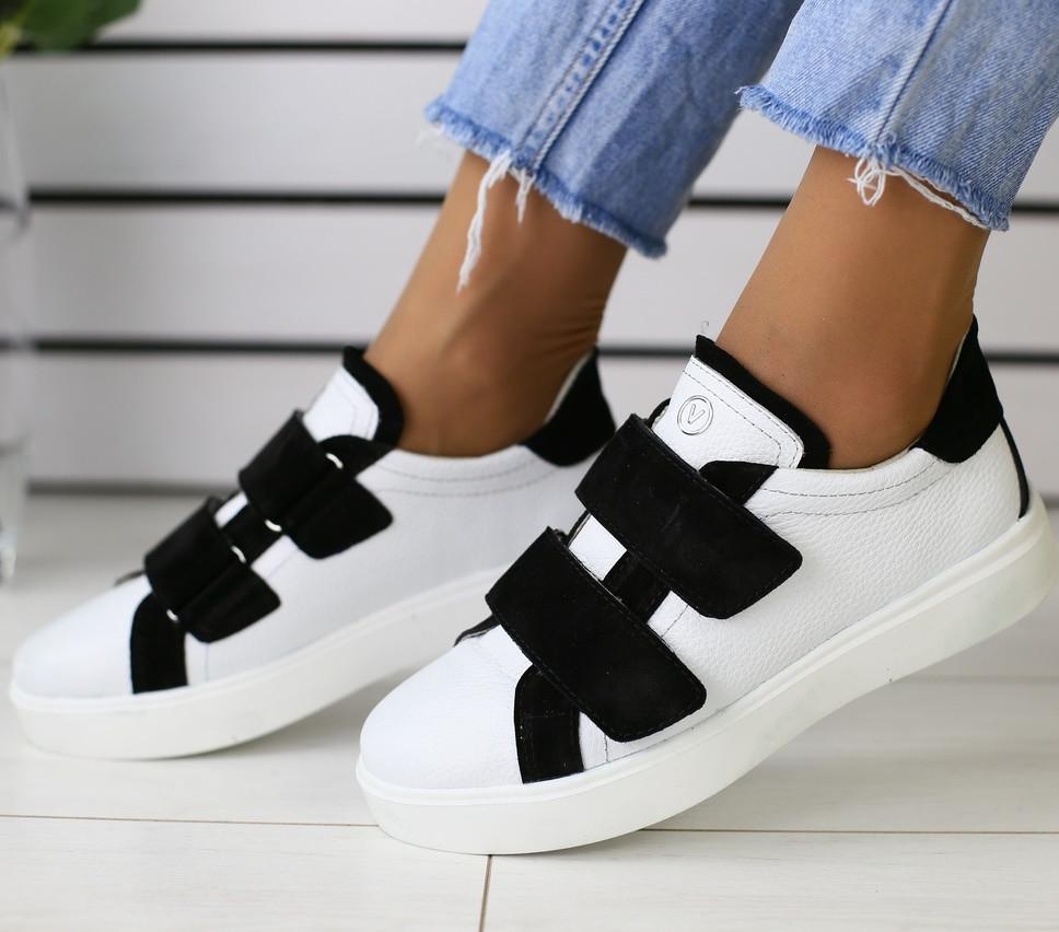 6fc320d81b9 Модные женские кожаные кроссовки кеды на липучках белые черные замшевые  вставки ...