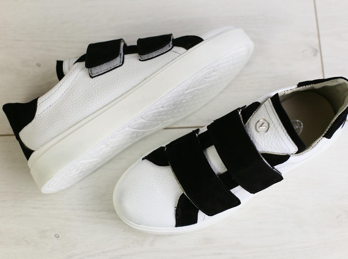 2ef3cb5a3 ... Модные женские кожаные кроссовки кеды на липучках белые черные замшевые  вставки JK69LT04RS, ...