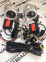 Ксеноновые би Линзы с ангельскими глазками 2.5 + комплект ксенона с проводкой H1 5000/6000k