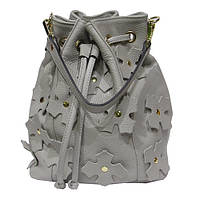 d49337f03999 Женская сумка Felicita 1058 из натуральной кожи итальянская фабричная  серого цвета затягивается шнурком