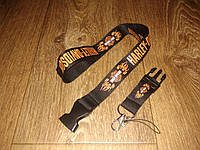 Шнурок на шею для ключей Harley-Davidson черный с языками пламени