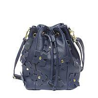 af52f9982d85 Киев. Женская сумка Felicita 1082 из натуральной кожи итальянская фабричная  синего цвета затягивается шнурком