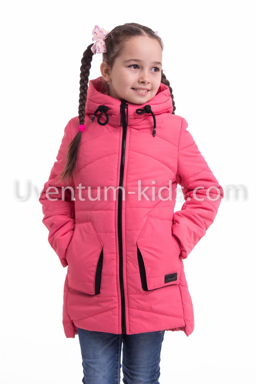 Куртка весна-осень девочка удлиненная  32-42 коралл