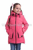 Куртка весна-осень девочка удлиненная  32-42 коралл, фото 1