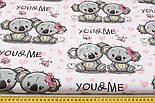 """Лоскут ткани """"Коалы и розовые сердечки"""" на белом № 1515, фото 4"""