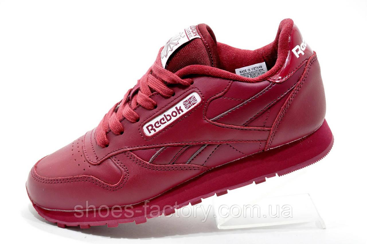 Бордовые кроссовки в стиле Reebok Classic Leather, Женские