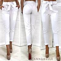 Женские модные брюки с поясом. Белые, 5 цветов.