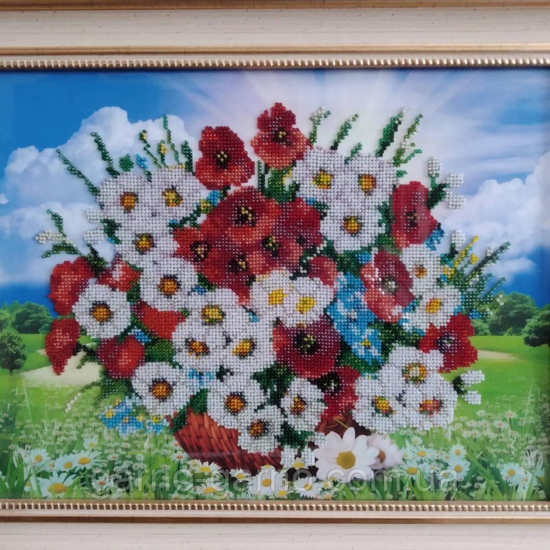 """Картина вишита бісером """"Польові квіти"""". Маки і ромашки."""