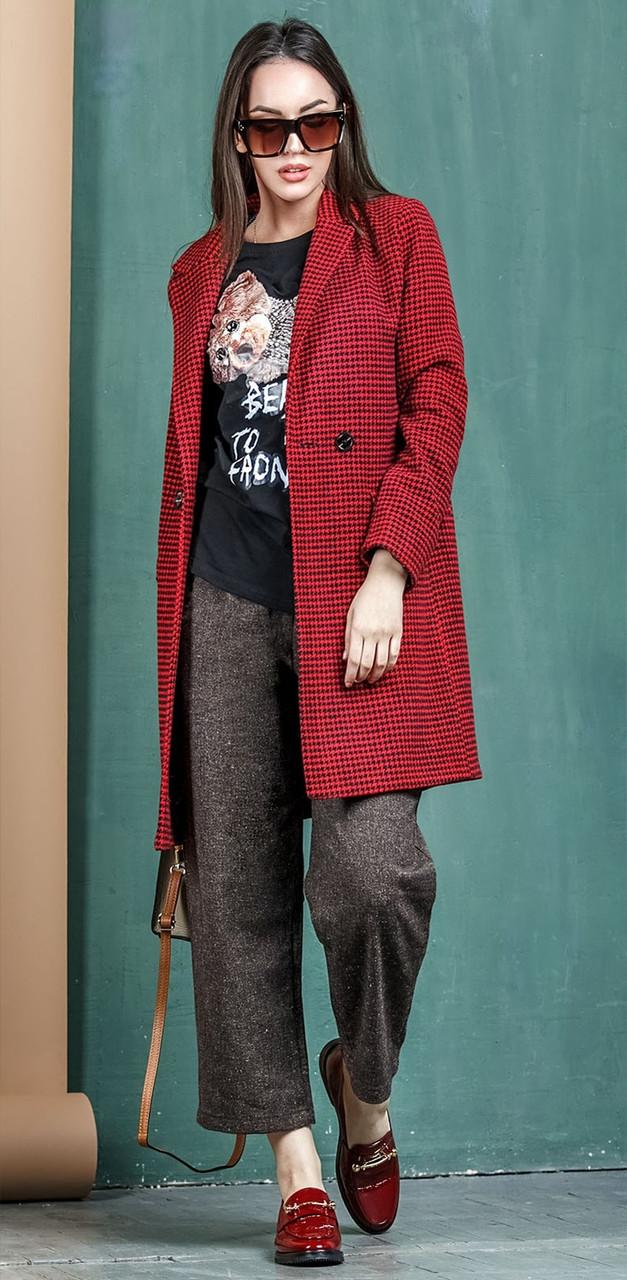 Пальто жіноче демісезонне бордового кольору Ріміні 42-48 р