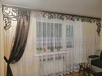 Ажурный ламбрекен на основе бандо  на 4 м.карниз(шторка в комплекте), фото 1