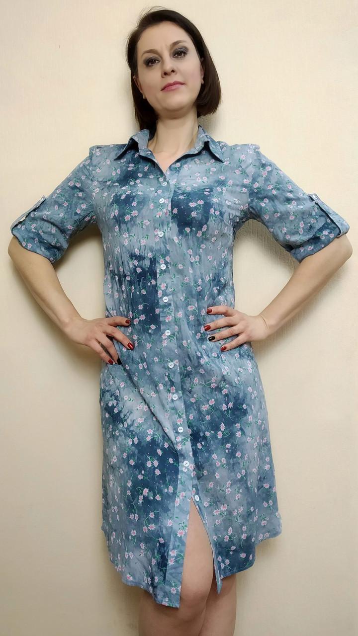 Платье-рубашка штапельная с поясом, джинс РП71