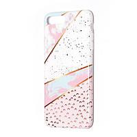 Чехол накладка на iPhone 6 plus/6splus бело-розовый мрамор, плотный силикон