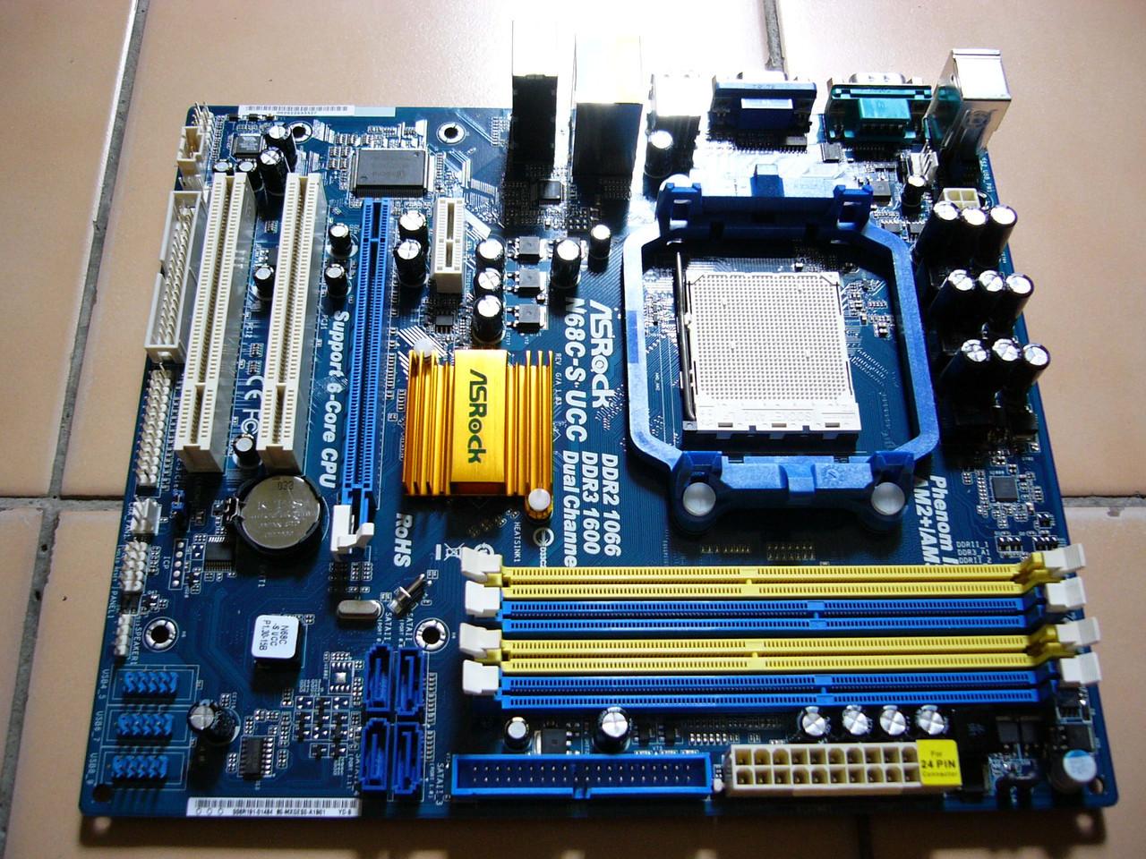 Плата под AMD SAM3 Am2+ ASRock n68c-s UCC на DDR3 и DDR2 ОДНОВРЕМЕН Поним ЛЮБЫЕ 2-6 ЯДЕР ПРОЦЫ до PHENOM II X6