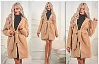 Женское пальто кашемировое с поясом в разных цветах, фото 1