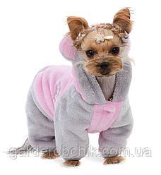 """Комбинезон плюшевый """"АЛЬФ"""" розовый Pet Fashion. Комбинезон для собаки демисезонный"""
