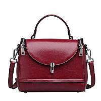Женская кожаная сумка среднего размера бордовая опт, фото 1