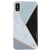 Чехол накладка на iPhone 7/8 белый мрамор с черным треугольником, плотный силикон